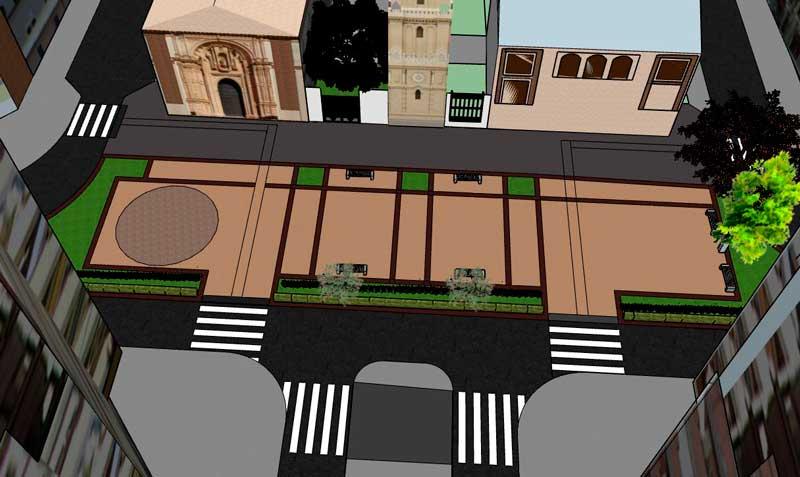 Recreació - Vista aèria de la plaça de Sant Marcel·lí