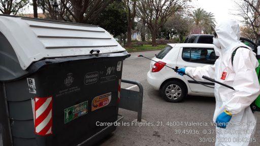 desinfecció contenidor / desinfección papelera